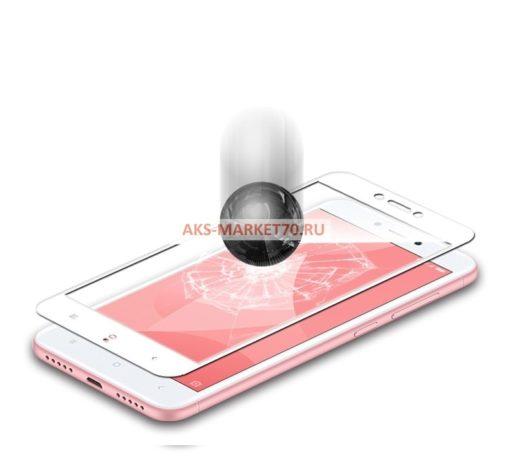 Защитное стекло на Xiaomi Redmi 4x(полное покрытие 3D) Цвет: белый