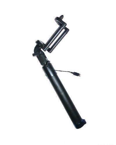Селфи-палка с кабелем Lightning c синим колпачком (чёрная)