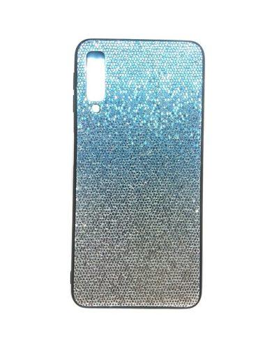 Чехол-бампер для Samsung Galaxy A7 2018 (SM-A750) (голубой с блестками)