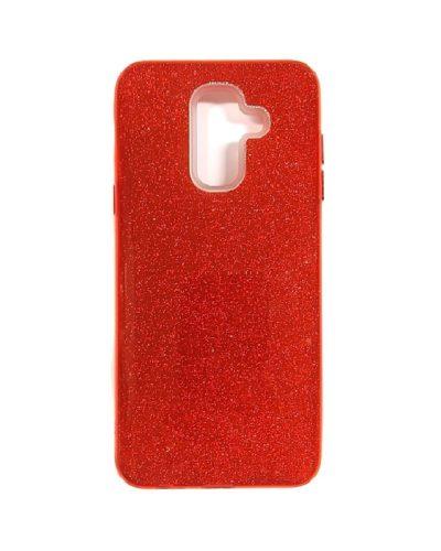 Чехол-бампер с блестками для Samsung Galaxy J8 (2018) (красный)