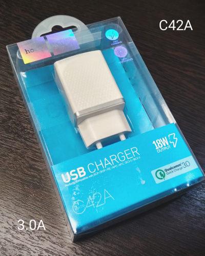 Сетевое зарядное устройство Hoco C42A (1 USB, 3A) (черный)