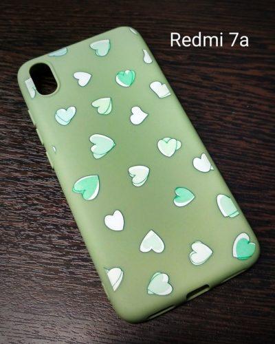 "Чехол-бампер ""Сердечки"" для Xiaomi Redmi 7A (зеленый)"